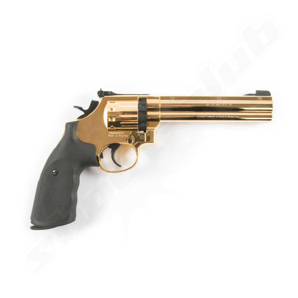 Smith & Wesson 686 CO2 Revolver 6 Kal. 4,5mm Diabolos - gold finish Bild 2
