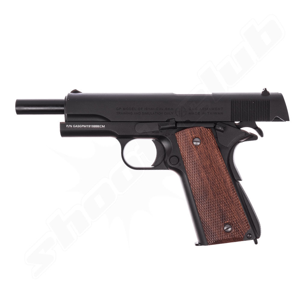 G&G GPM1911 6mm Airsoft Pistole ab18 Black - Gas Blow Back Bild 3