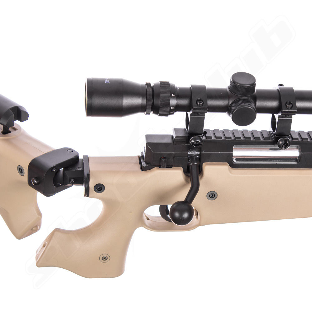 Well AW .338 Airsoft Sniper MB08 Starter Set TAN - Upgraded Bild 4