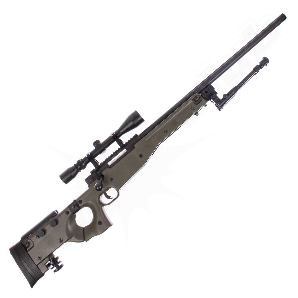Well AW .338 Airsoft Sniper MB08 Starter Set OD Green / Upgraded Bild 2