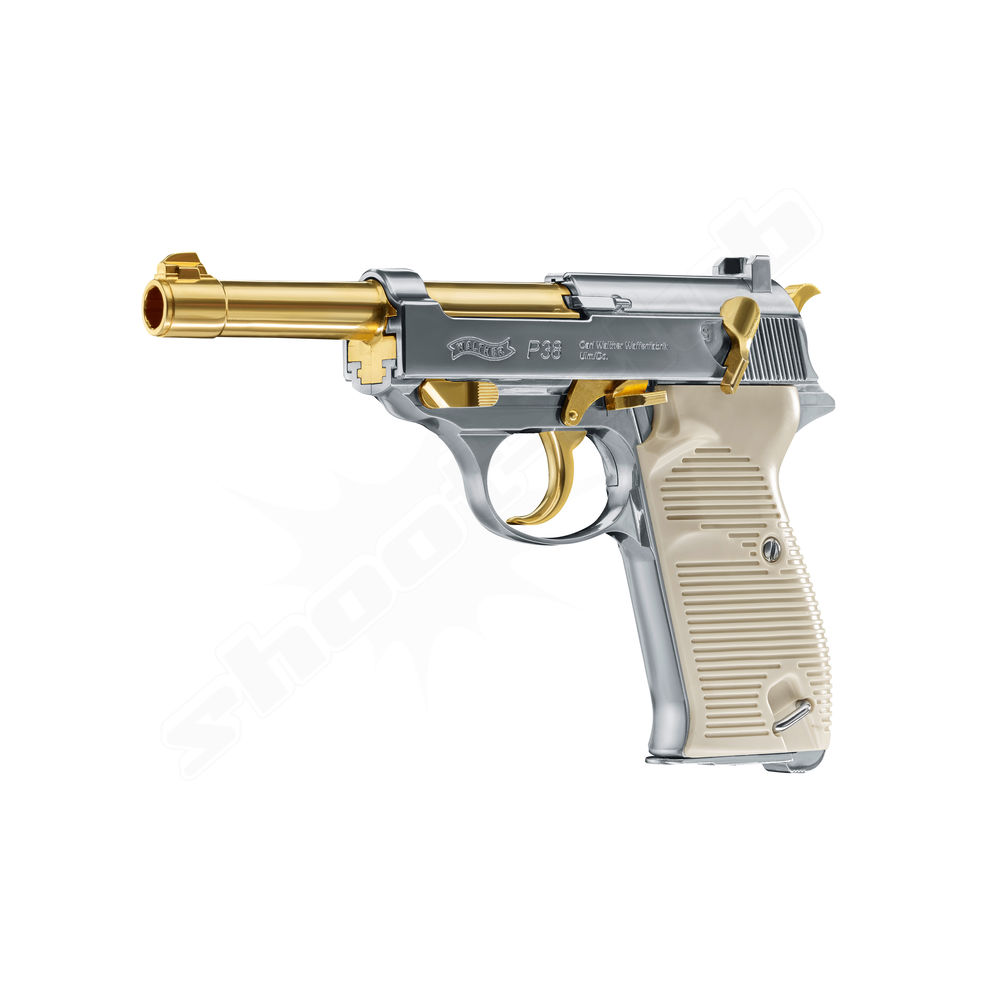 Walther P38 CO2 Pistole 4,5 mm Stahlkugeln Blowback - Gold Bild 3
