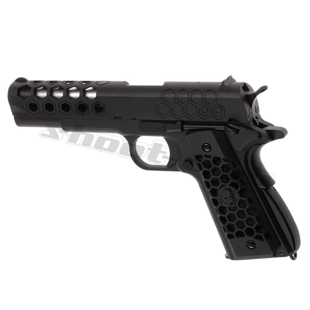 WE M1911 Hex Cut Full Metal GBB Airsoft Pistole Kaliber 6 mm - Schwarz Bild 2