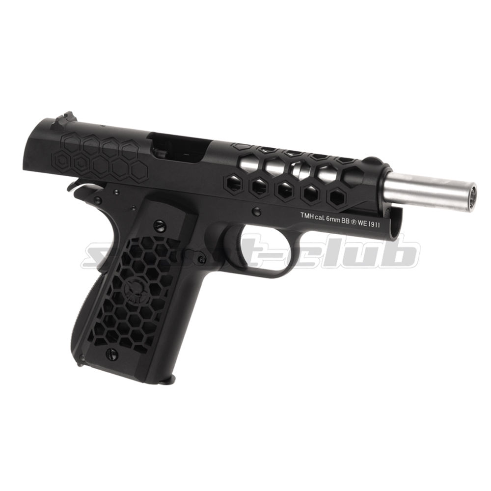 WE M1911 Hex Cut Full Metal GBB Airsoft Pistole Kaliber 6 mm - Schwarz Bild 3