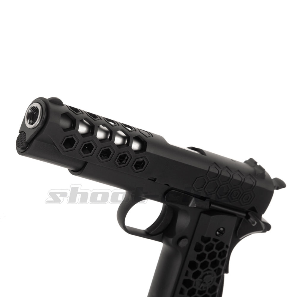 WE M1911 Hex Cut Full Metal GBB Airsoft Pistole Kaliber 6 mm - Schwarz Bild 4