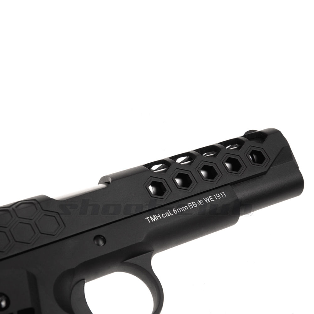 WE M1911 Hex Cut Full Metal GBB Airsoft Pistole Kaliber 6 mm - Schwarz Bild 5