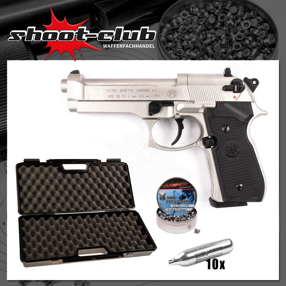 Beretta M 92 FS CO2 Pistole Nickel 4,5mm Diabolo - Koffer-Set
