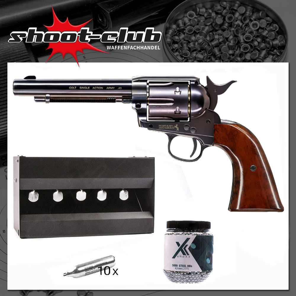 COLT SAA .45 Peacemaker Blue 4,5 mm BBs im Plinking-Set