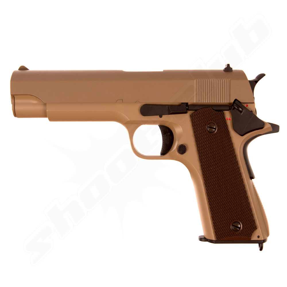 CYMA CM.123 - AEP M1911A1 Airsoft 0,5 Joule Pistole ab14 in der Farbe TAN