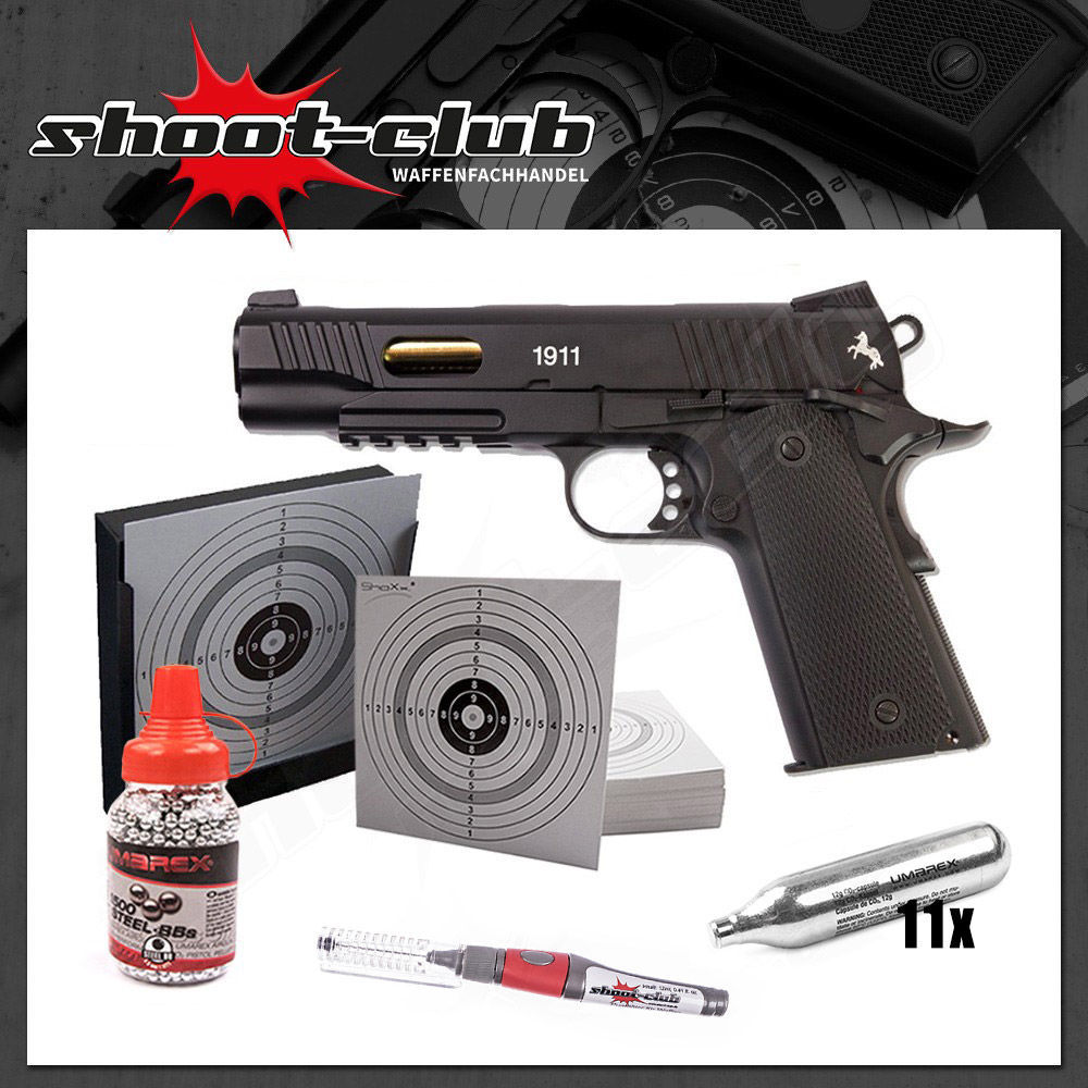 Colt 1911 Custom CO2 Pistole 4,5mm Stahl BB - im Set