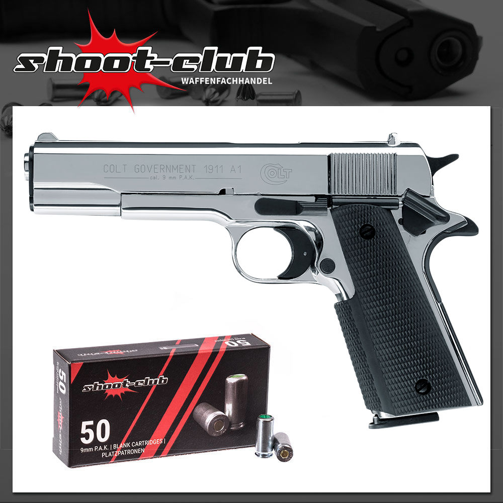 Colt Government 1911 Schreckschuss 9mm P.A.K. polished chrome + Platzpatronen