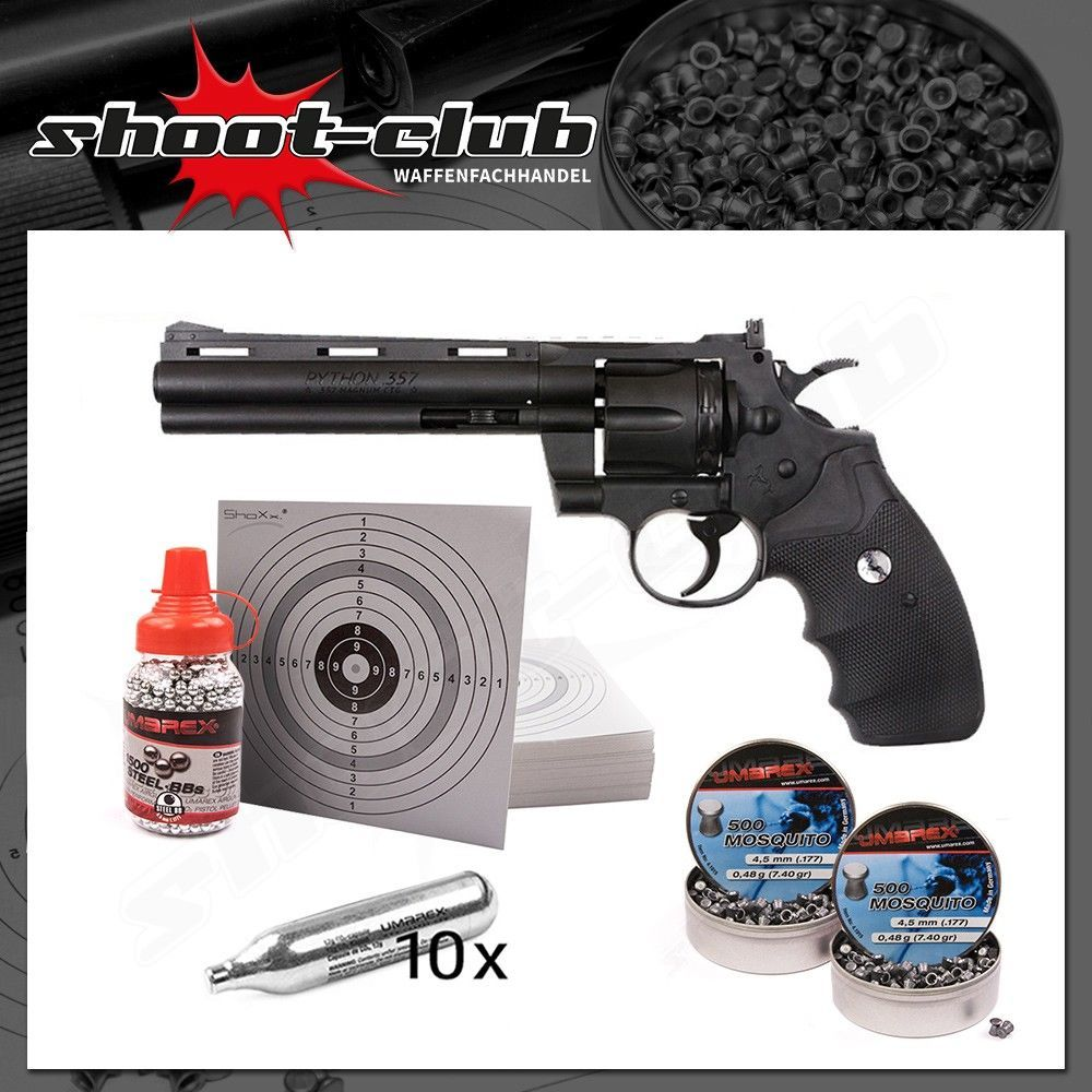 Colt Python 6 CO2 Revolver 4,5mm Stahl BB & Diabolo - Set