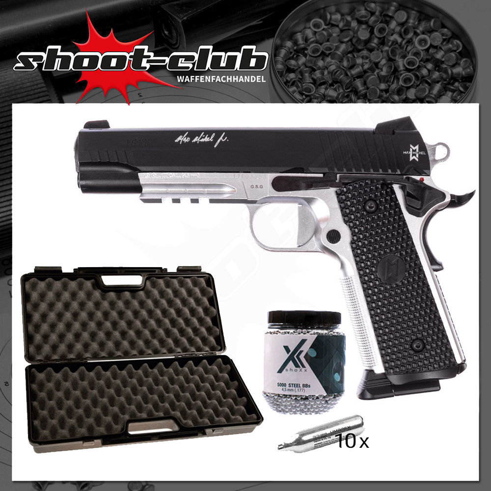 GSG 1911 MAX MICHAEL CO2 Pistole 4,5mm BBs - Koffer Set
