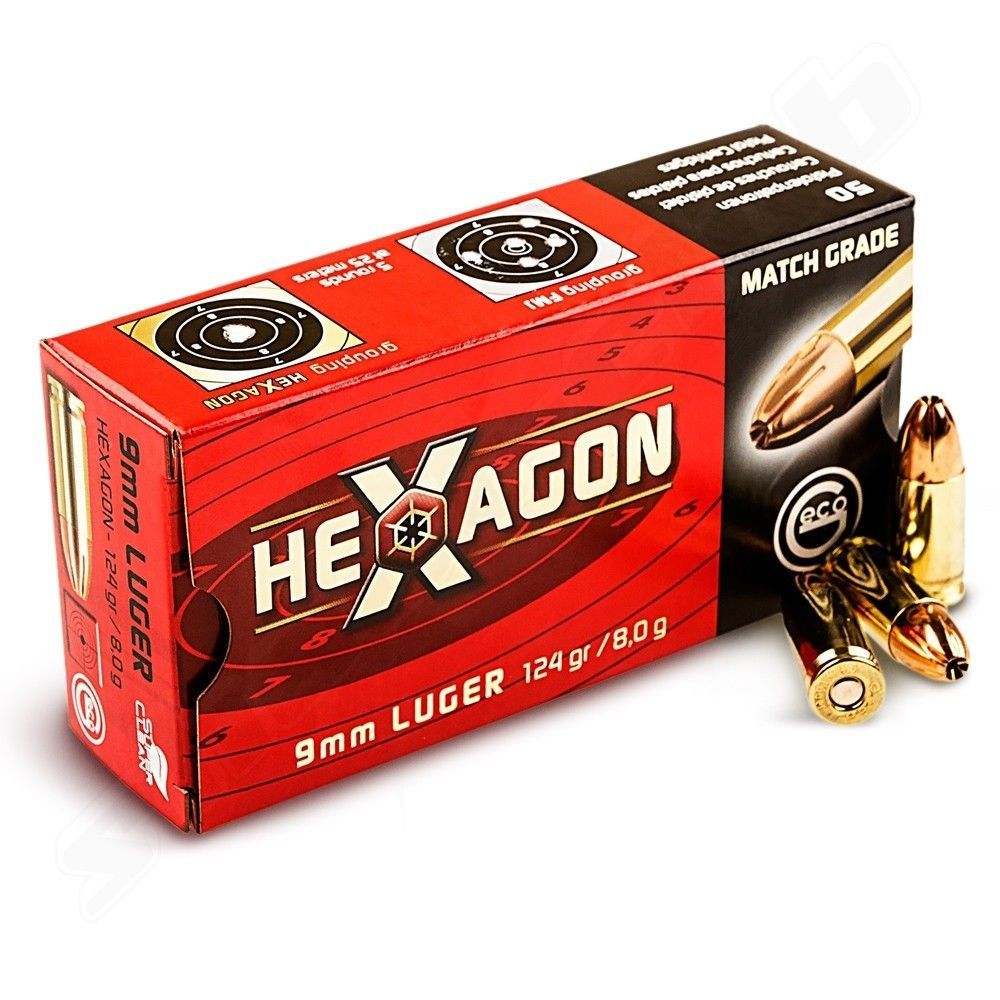 Geco Hexagon 9mm Luger - Pistolen Patronen - 50 Stk.
