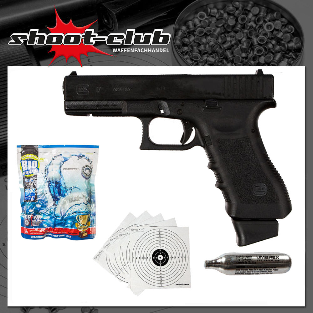 Glock 17 6 mm GBB CO2 Airsoft Pistole Deluxe Edition - Set