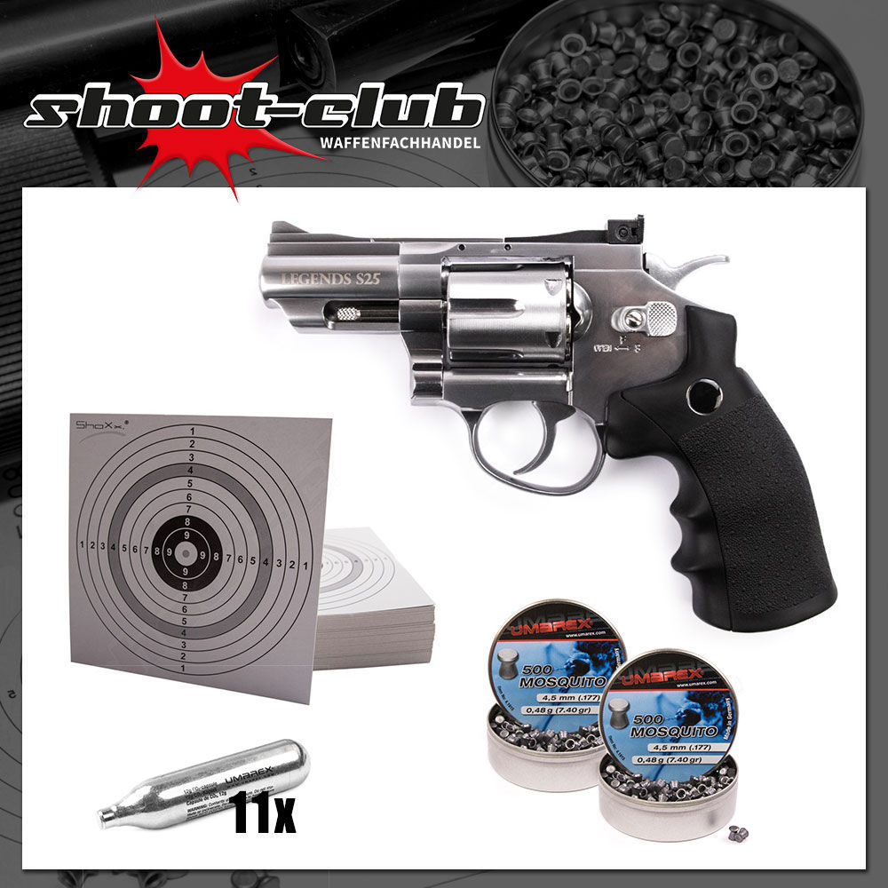 Legends S25 CO2 Revolver 4,5 mm Diabolos im Set