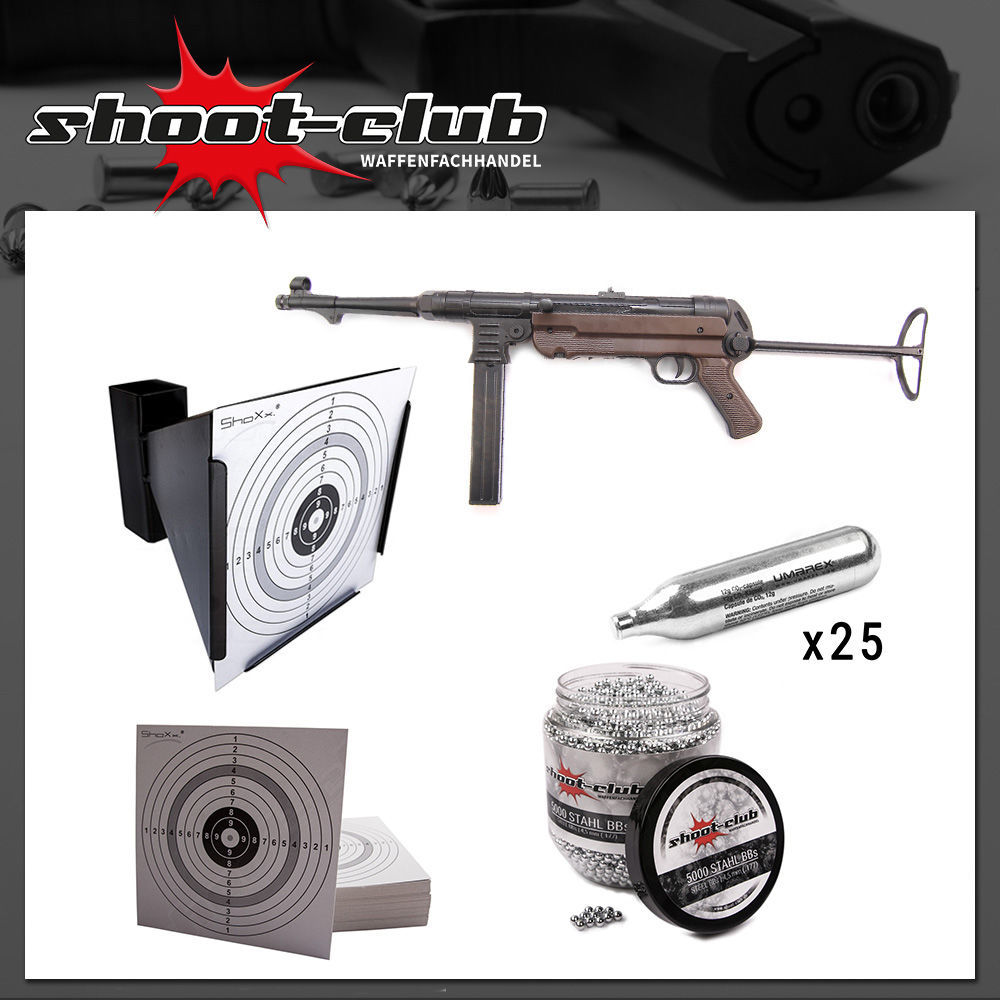MP40 Kaliber CO2 Gewehr 4,5mm - shoot-club Komplett-Set