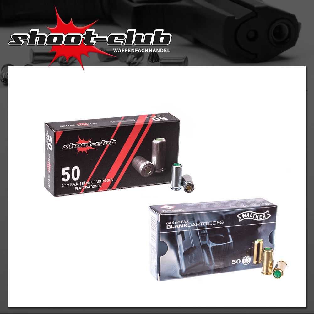 Platzpatronen shoot-club & Walther Platzpatronen 9mm - Set