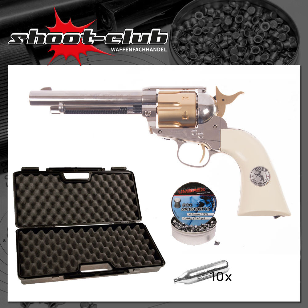 SAA .45 Colt CO2 Revolver 5.5 Zoll Lauf 4,5 mm Diabolos Gold Edition - Koffer-Set