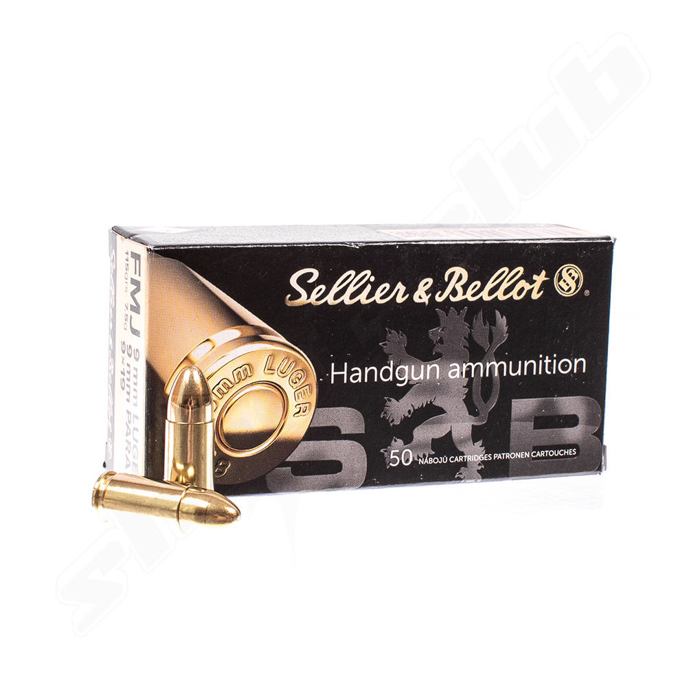 Sellier Bellot 9mm Luger FMJ - 7,5g 115 grs - 50 Patronen Vollmantel