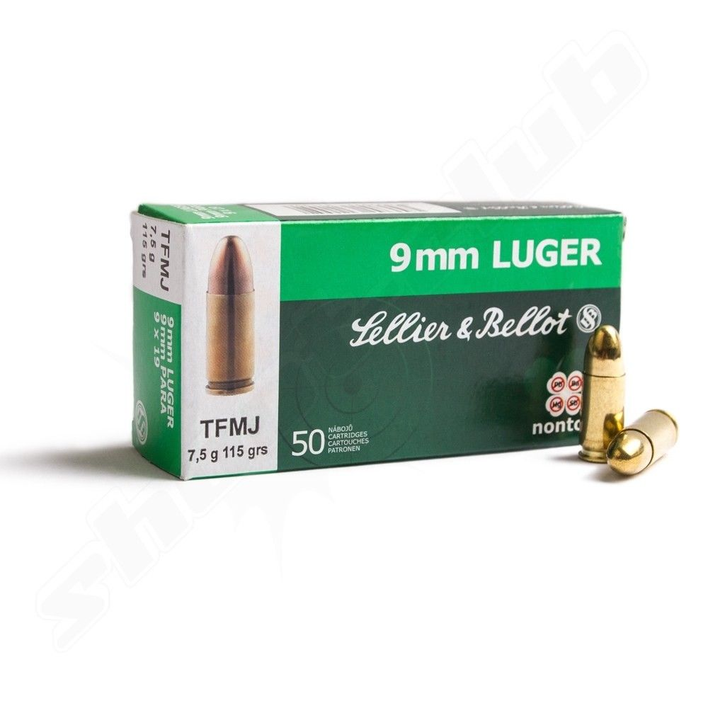 Sellier & Bellot 9mm Luger TFMJ NON-TOX 7,5g/ 115grs, 50 Patronen