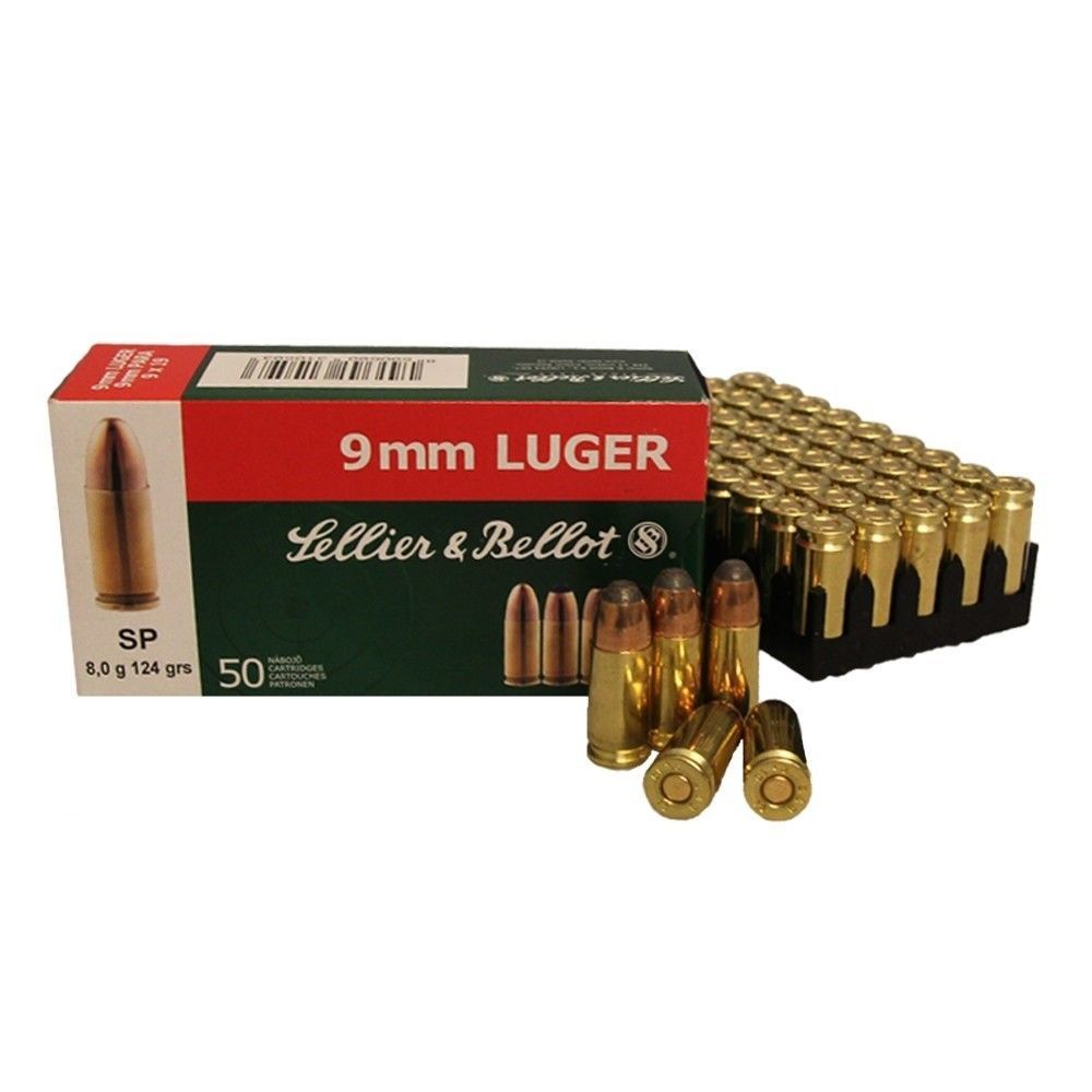 Sellier & Bellot 9mm Luger TM 8,0 g - 50 Patronen