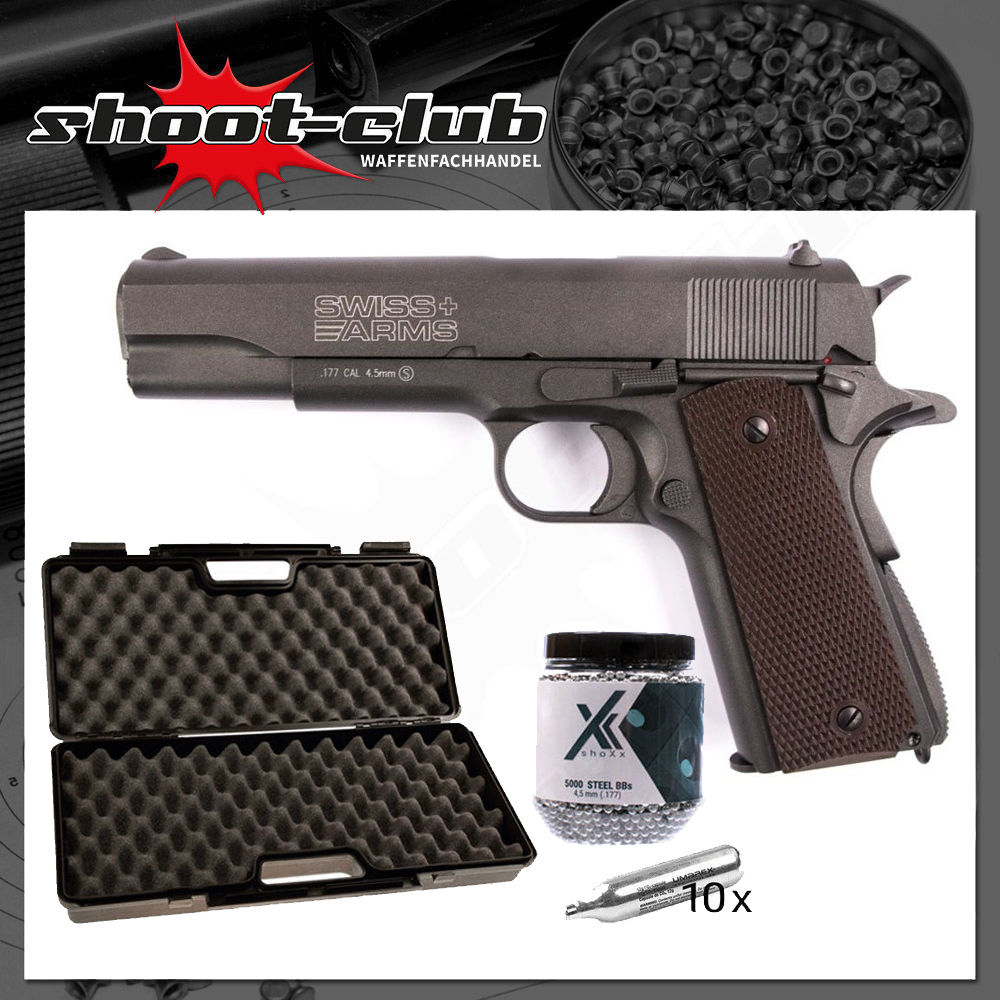 Swiss Arms P1911 CO2 Pistole mit Blowback 4,5 mm Stahlkugeln Koffer-Set