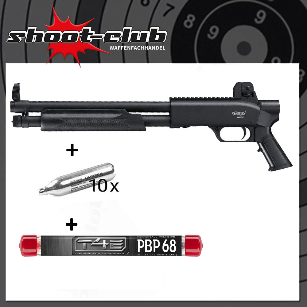 T4E SG 68 Co2 Pumpgun .68 RAM SET mit CO2 Kapseln & Pepperballs