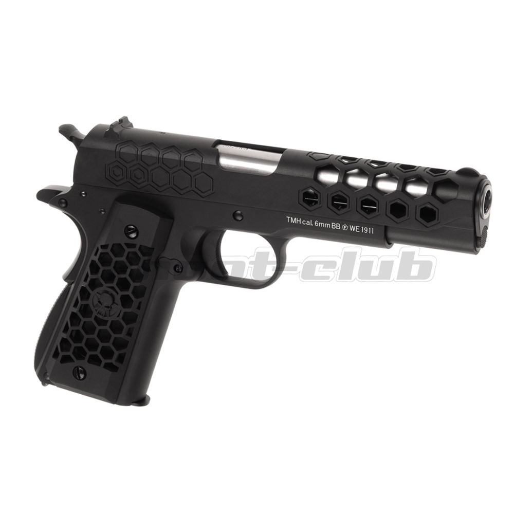 WE M1911 Hex Cut Full Metal GBB Airsoft Pistole Kaliber 6 mm - Schwarz