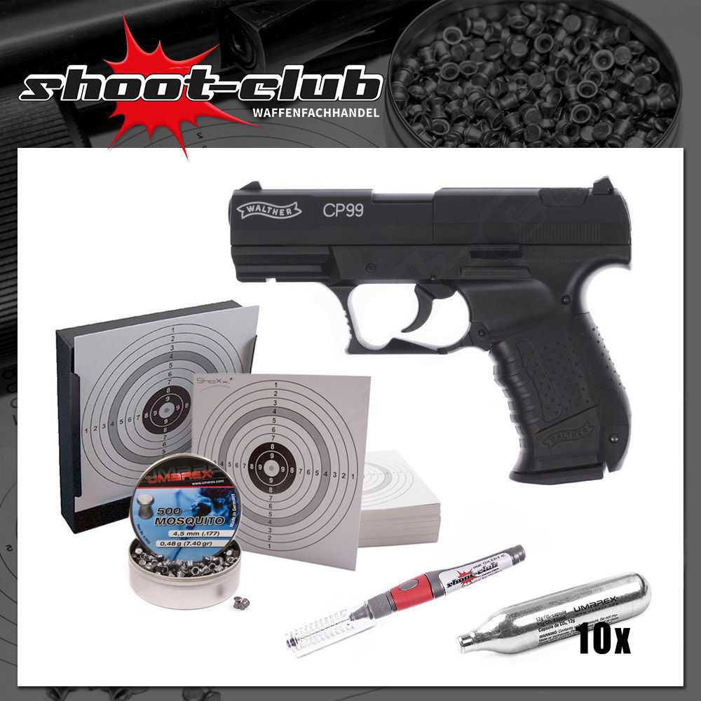 Walther CP99 brüniert - CO2 Pistole 4,5mm - Set