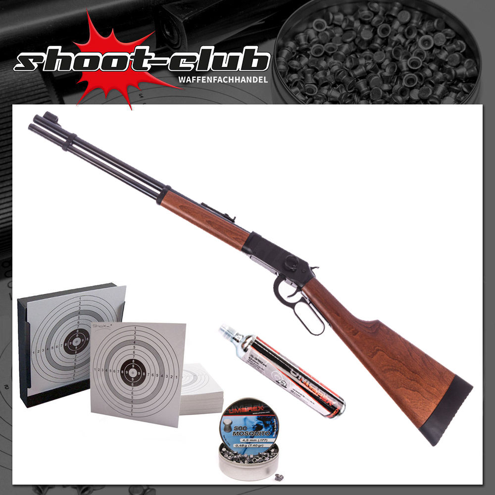 Walther Lever Action CO2-Gewehr 4,5mm Diabolos - Kugelfang-Bundle