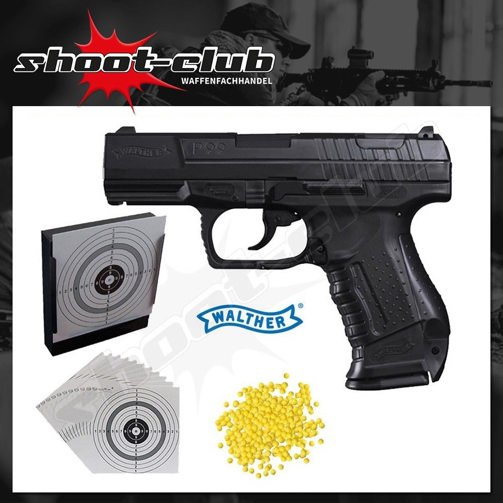 Walther P99 Softair Pistole 6mm max. 0,5 Joule - Set