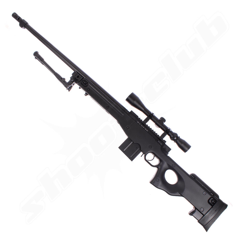 Well MB4402 FH AWP Airsoft Sniper Starter Set Schwarz Upgraded