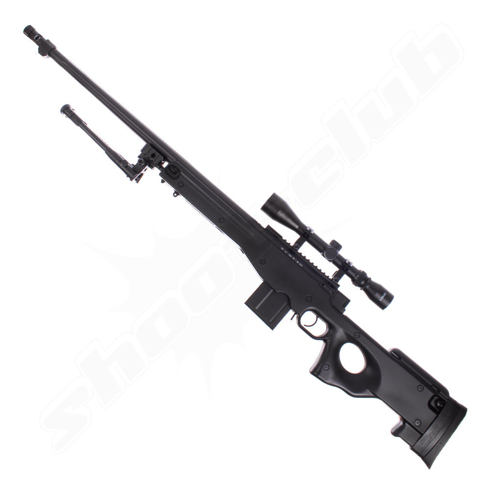 Well MB4402 FH AWP Airsoft Sniper Starter Set Schwarz
