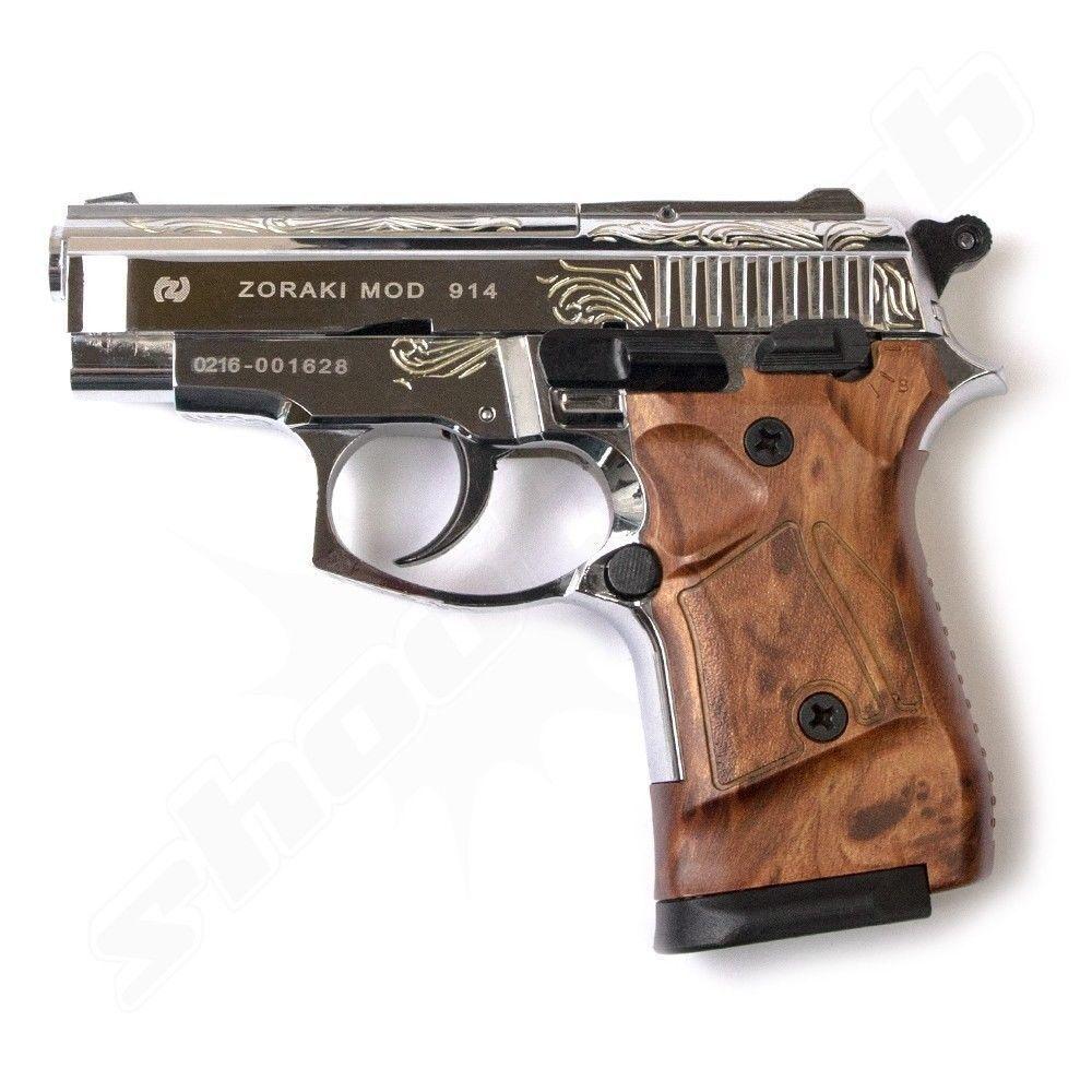 Zoraki 914 Schreckschuss-Pistole chrom - graviert