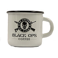 Black Ops Coffee Heavy Duty Emaille Becher Weiß