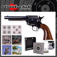 COLT SAA .45 Peacemaker CO2 Revolver - Blue - 4,5 mm BBs - Zielscheiben Set