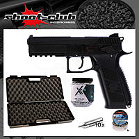 CZ P-09 Duty CO2 Pistole 4,5 mm Stahl BBs & Diabolo - Koffer-Set
