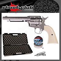 Colt SAA .45 CO2 Revolver 5,5 Zoll Lauf 4,5 mm Diabolos Nickel Edition - Koffer-Set