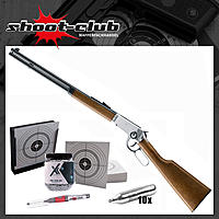 Legends Cowboy Rifle Chrom CO2 Gewehr 4,5 mm Stahl BBs - Kugelfang Set