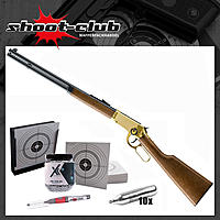 Legends Cowboy Rifle gold CO2 4,5 mm Stahl BBs im Kugelfang-Set