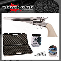 Remington 1875 CO2 Revolver 4,5mm Diabolos & Stahl BBs - Koffer-Set