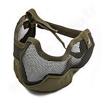 Softair Gittermaske gro� Mundschutz - oliv gr�n OD