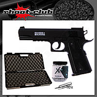 Swiss Arms P1911 Match CO2 Pistole NBB 4,5mm BBs - Koffer-Set