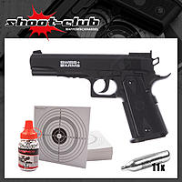 Swiss Arms P1911 Match CO2 Pistole NBB - 4,5mm im Set