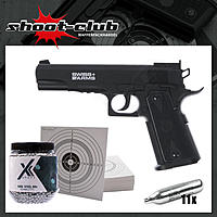 Swiss Arms P1911 Match NBB CO2 Pistole - 4,5mm im Set