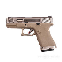 WE G-Force 19 SV Airsoft Pistole GBB Custom Metal 6mm BB - Silver,Tan