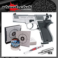 Walther CP88 CO2 Pistole polished chrome 4,5mm Diabolo im Set