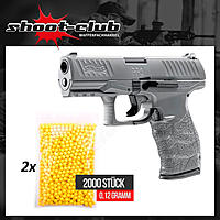 Walther PPQ HME Airsoft Pistole 6 mm BBs max. 0,5 Joule - Metal Gray - Set II