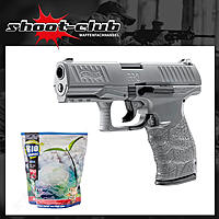Walther PPQ HME Kaliber 6 mm Airsoft BBs max. 0,5 Joule - Metal Gray - im Set