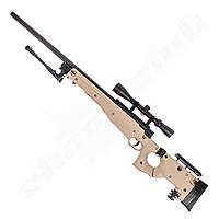 Well AW .338 Airsoft Sniper MB08 Starter Set TAN / Upgraded